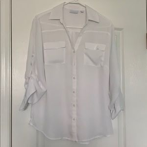 White button up blouse